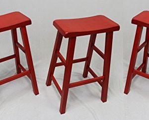 EHemco 29 Heavy Duty Saddle Seat Bar Stool In Red Set Of 3 0 300x242