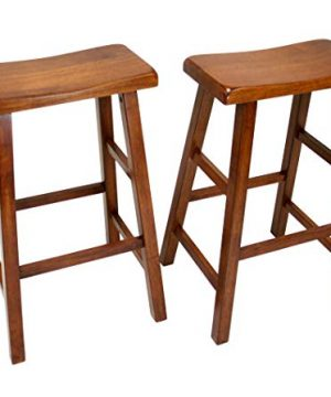 EHemco Set Of 2 Heavy Duty Saddle Seat Bar Stools Counter Stools 29 Dark Oak 0 300x360