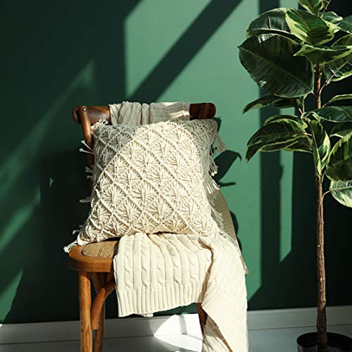 Famibay Cotton Rope Handmade Pillow Cover 18 Inch Square Macrame Cushion Cover Bohemian Farmhouse Style Cable Knitted Pillow Cases Home Sofa Bed Living Room Chair Natural White 0 0