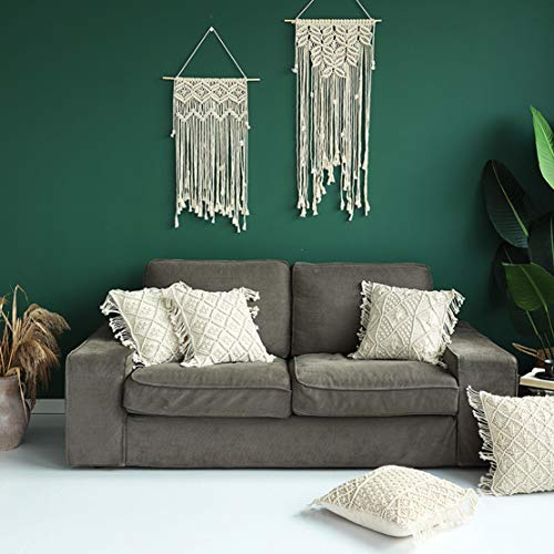 Famibay Cotton Rope Handmade Pillow Cover 18 Inch Square Macrame Cushion Cover Bohemian Farmhouse Style Cable Knitted Pillow Cases Home Sofa Bed Living Room Chair Natural White 0 1