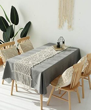Famibay Cotton Rope Handmade Pillow Cover 18 Inch Square Macrame Cushion Cover Bohemian Farmhouse Style Cable Knitted Pillow Cases Home Sofa Bed Living Room Chair Natural White 0 3 300x360