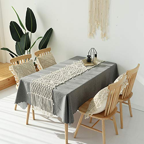 Famibay Cotton Rope Handmade Pillow Cover 18 Inch Square Macrame Cushion Cover Bohemian Farmhouse Style Cable Knitted Pillow Cases Home Sofa Bed Living Room Chair Natural White 0 3