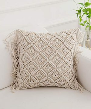 Famibay Cotton Rope Handmade Pillow Cover 18 Inch Square Macrame Cushion Cover Bohemian Farmhouse Style Cable Knitted Pillow Cases Home Sofa Bed Living Room Chair Natural White 0 300x360