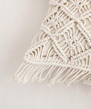 Famibay Cotton Rope Handmade Pillow Cover 18 Inch Square Macrame Cushion Cover Bohemian Farmhouse Style Cable Knitted Pillow Cases Home Sofa Bed Living Room Chair Natural White 0 4 300x360