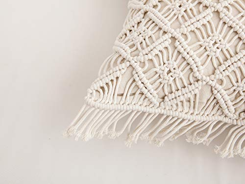 Famibay Cotton Rope Handmade Pillow Cover 18 Inch Square Macrame Cushion Cover Bohemian Farmhouse Style Cable Knitted Pillow Cases Home Sofa Bed Living Room Chair Natural White 0 4