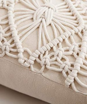 Famibay Cotton Rope Handmade Pillow Cover 18 Inch Square Macrame Cushion Cover Bohemian Farmhouse Style Cable Knitted Pillow Cases Home Sofa Bed Living Room Chair Natural White 0 5 300x360