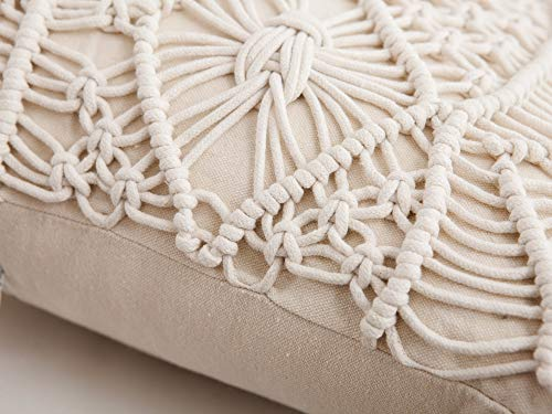 Famibay Cotton Rope Handmade Pillow Cover 18 Inch Square Macrame Cushion Cover Bohemian Farmhouse Style Cable Knitted Pillow Cases Home Sofa Bed Living Room Chair Natural White 0 5