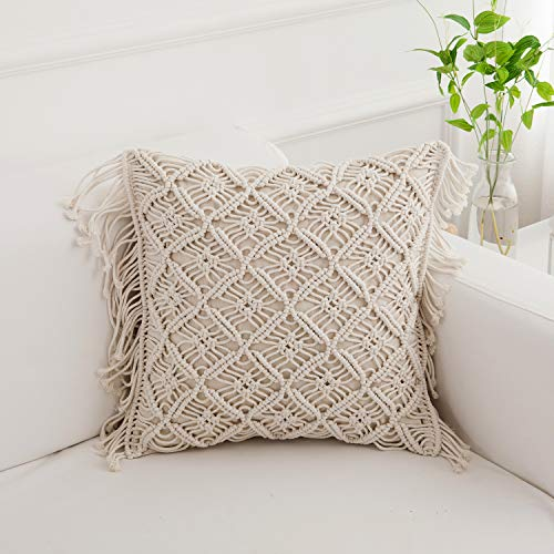 Famibay Cotton Rope Handmade Pillow Cover 18 Inch Square Macrame Cushion Cover Bohemian Farmhouse Style Cable Knitted Pillow Cases Home Sofa Bed Living Room Chair Natural White 0