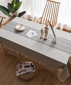 Fiercewolf Linen Rectangle Tablecloth Tassel Table Cloth Heavy Weight Cotton Fabric Dust Proof Table Cover Kitchen Dinning RectangleOblong 55 X 62 Inch Gray 0 0 300x360