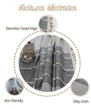 Fiercewolf Linen Rectangle Tablecloth Tassel Table Cloth Heavy Weight Cotton Fabric Dust Proof Table Cover Kitchen Dinning RectangleOblong 55 X 62 Inch Gray 0 1 300x360