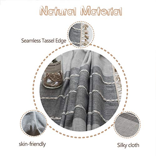 Fiercewolf Linen Rectangle Tablecloth Tassel Table Cloth Heavy Weight Cotton Fabric Dust Proof Table Cover Kitchen Dinning RectangleOblong 55 X 62 Inch Gray 0 1
