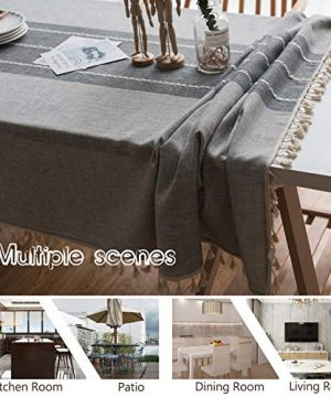 Fiercewolf Linen Rectangle Tablecloth Tassel Table Cloth Heavy Weight Cotton Fabric Dust Proof Table Cover Kitchen Dinning RectangleOblong 55 X 62 Inch Gray 0 2 300x360