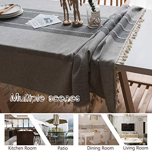 Fiercewolf Linen Rectangle Tablecloth Tassel Table Cloth Heavy Weight Cotton Fabric Dust Proof Table Cover Kitchen Dinning RectangleOblong 55 X 62 Inch Gray 0 2