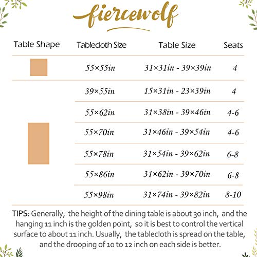 Fiercewolf Linen Rectangle Tablecloth Tassel Table Cloth Heavy Weight Cotton Fabric Dust Proof Table Cover Kitchen Dinning RectangleOblong 55 X 62 Inch Gray 0 4
