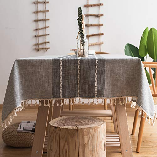 Fiercewolf Linen Rectangle Tablecloth Tassel Table Cloth Heavy Weight Cotton Fabric Dust Proof Table Cover Kitchen Dinning RectangleOblong 55 X 62 Inch Gray 0
