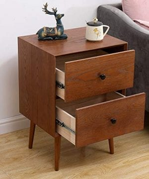2 Drawers Nightstand DEPOINTER Wood Bedside Storage Cabinet Accent End Side Table Chest Mid Century Modern Design Perfect For Home Furniture Bedroom Accessories Brown 0 0 300x360