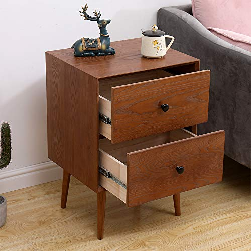 2 Drawers Nightstand DEPOINTER Wood Bedside Storage Cabinet Accent End Side Table Chest Mid Century Modern Design Perfect For Home Furniture Bedroom Accessories Brown 0 0