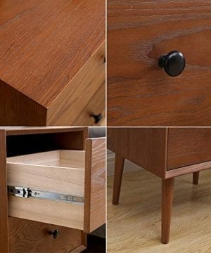 2 Drawers Nightstand DEPOINTER Wood Bedside Storage Cabinet Accent End Side Table Chest Mid Century Modern Design Perfect For Home Furniture Bedroom Accessories Brown 0 2 300x360
