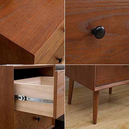 2 Drawers Nightstand DEPOINTER Wood Bedside Storage Cabinet Accent End Side Table Chest Mid Century Modern Design Perfect For Home Furniture Bedroom Accessories Brown 0 2