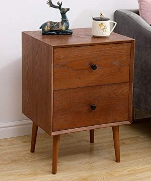 2 Drawers Nightstand DEPOINTER Wood Bedside Storage Cabinet Accent End Side Table Chest Mid Century Modern Design Perfect For Home Furniture Bedroom Accessories Brown 0 3 300x360