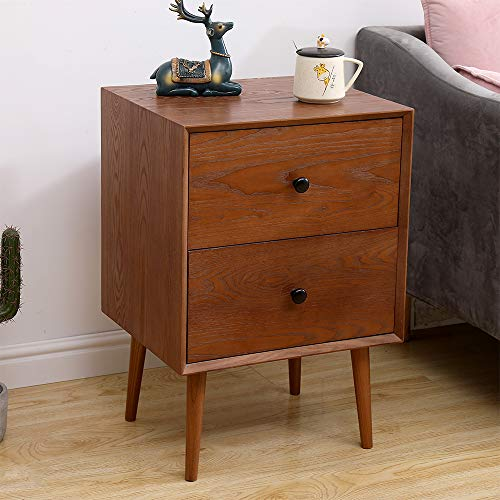 2 Drawers Nightstand DEPOINTER Wood Bedside Storage Cabinet Accent End Side Table Chest Mid Century Modern Design Perfect For Home Furniture Bedroom Accessories Brown 0 3