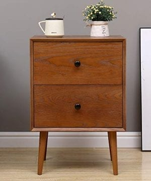 2 Drawers Nightstand DEPOINTER Wood Bedside Storage Cabinet Accent End Side Table Chest Mid Century Modern Design Perfect For Home Furniture Bedroom Accessories Brown 0 300x360