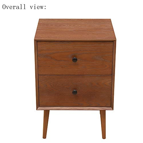 2 Drawers Nightstand DEPOINTER Wood Bedside Storage Cabinet Accent End Side Table Chest Mid Century Modern Design Perfect For Home Furniture Bedroom Accessories Brown 0 4