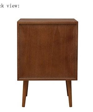 2 Drawers Nightstand DEPOINTER Wood Bedside Storage Cabinet Accent End Side Table Chest Mid Century Modern Design Perfect For Home Furniture Bedroom Accessories Brown 0 5 300x360