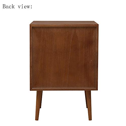 2 Drawers Nightstand DEPOINTER Wood Bedside Storage Cabinet Accent End Side Table Chest Mid Century Modern Design Perfect For Home Furniture Bedroom Accessories Brown 0 5