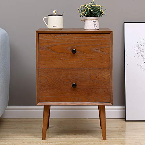 2 Drawers Nightstand DEPOINTER Wood Bedside Storage Cabinet Accent End Side Table Chest Mid Century Modern Design Perfect For Home Furniture Bedroom Accessories Brown 0