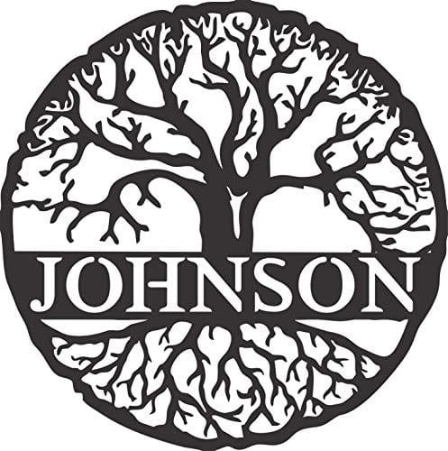 AJD Designs Custom Family Tree Monogram Metal Sign 0