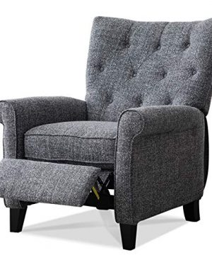 ANJ Recliner Elizabeth Accent Chair For Living Room Easy To Push Mechanism Single Chair With Roll Arm Elegant Smoke Grey 0 300x360