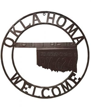 AR Country Store Oklahoma State MAP Welcome Metal Circle Wall Hanging 24 Inch 0 300x360