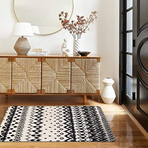 Ailsan Black And White Tribal Rectangle Faux Wool Area Rug Gorgeous Ikat Pattern Throw Runner Rug 2x 3Non Slip Backing Soft Wool Floor Carpet For Sofa Living Room Bedroom Modern Accent Home Decor 0 2