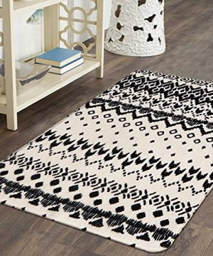 Ailsan Black And White Tribal Rectangle Faux Wool Area Rug Gorgeous Ikat Pattern Throw Runner Rug 2x 3Non Slip Backing Soft Wool Floor Carpet For Sofa Living Room Bedroom Modern Accent Home Decor 0 3 300x360