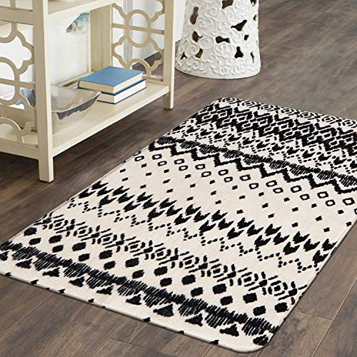 Ailsan Black And White Tribal Rectangle Faux Wool Area Rug Gorgeous Ikat Pattern Throw Runner Rug 2x 3Non Slip Backing Soft Wool Floor Carpet For Sofa Living Room Bedroom Modern Accent Home Decor 0 3