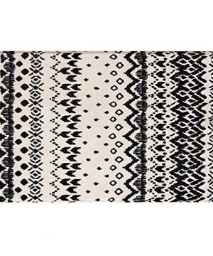Ailsan Black And White Tribal Rectangle Faux Wool Area Rug Gorgeous Ikat Pattern Throw Runner Rug 2x 3Non Slip Backing Soft Wool Floor Carpet For Sofa Living Room Bedroom Modern Accent Home Decor 0 300x360