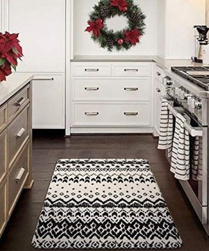 Ailsan Black And White Tribal Rectangle Faux Wool Area Rug Gorgeous Ikat Pattern Throw Runner Rug 2x 3Non Slip Backing Soft Wool Floor Carpet For Sofa Living Room Bedroom Modern Accent Home Decor 0 5 300x360