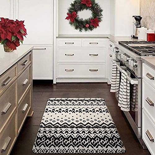 Ailsan Black And White Tribal Rectangle Faux Wool Area Rug Gorgeous Ikat Pattern Throw Runner Rug 2x 3Non Slip Backing Soft Wool Floor Carpet For Sofa Living Room Bedroom Modern Accent Home Decor 0 5