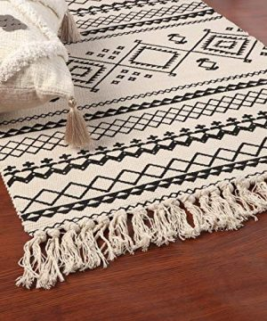 Ailsan Moroccan Cotton Area Rug 2x3Hand Chic Woven Fringe Throw Rugs Diamond Printed Tassels Modern Geometric Throw Rugs Door Mat Floor Runner Rug For Porch Kitchen Bathroom Laundry Living Room 0 0 300x360
