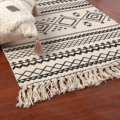 Ailsan Moroccan Cotton Area Rug 2x3Hand Chic Woven Fringe Throw Rugs Diamond Printed Tassels Modern Geometric Throw Rugs Door Mat Floor Runner Rug For Porch Kitchen Bathroom Laundry Living Room 0 0