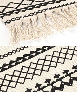 Ailsan Moroccan Cotton Area Rug 2x3Hand Chic Woven Fringe Throw Rugs Diamond Printed Tassels Modern Geometric Throw Rugs Door Mat Floor Runner Rug For Porch Kitchen Bathroom Laundry Living Room 0 1 300x360