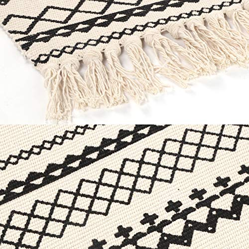 Ailsan Moroccan Cotton Area Rug 2x3Hand Chic Woven Fringe Throw Rugs Diamond Printed Tassels Modern Geometric Throw Rugs Door Mat Floor Runner Rug For Porch Kitchen Bathroom Laundry Living Room 0 1