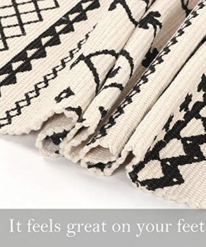 Ailsan Moroccan Cotton Area Rug 2x3Hand Chic Woven Fringe Throw Rugs Diamond Printed Tassels Modern Geometric Throw Rugs Door Mat Floor Runner Rug For Porch Kitchen Bathroom Laundry Living Room 0 3 300x360
