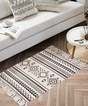 Ailsan Moroccan Cotton Area Rug 2x3Hand Chic Woven Fringe Throw Rugs Diamond Printed Tassels Modern Geometric Throw Rugs Door Mat Floor Runner Rug For Porch Kitchen Bathroom Laundry Living Room 0 4 300x360