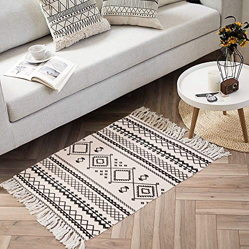 Ailsan Moroccan Cotton Area Rug 2x3Hand Chic Woven Fringe Throw Rugs Diamond Printed Tassels Modern Geometric Throw Rugs Door Mat Floor Runner Rug For Porch Kitchen Bathroom Laundry Living Room 0 4