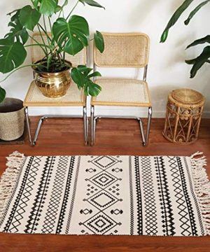 Ailsan Moroccan Cotton Area Rug 2x3Hand Chic Woven Fringe Throw Rugs Diamond Printed Tassels Modern Geometric Throw Rugs Door Mat Floor Runner Rug For Porch Kitchen Bathroom Laundry Living Room 0 5 300x360