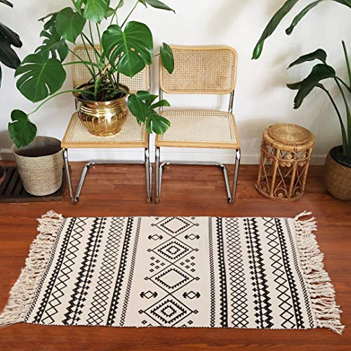 Ailsan Moroccan Cotton Area Rug 2x3Hand Chic Woven Fringe Throw Rugs Diamond Printed Tassels Modern Geometric Throw Rugs Door Mat Floor Runner Rug For Porch Kitchen Bathroom Laundry Living Room 0 5