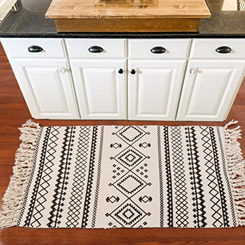 Ailsan Moroccan Cotton Area Rug 2x3Hand Chic Woven Fringe Throw Rugs Diamond Printed Tassels Modern Geometric Throw Rugs Door Mat Floor Runner Rug For Porch Kitchen Bathroom Laundry Living Room 0