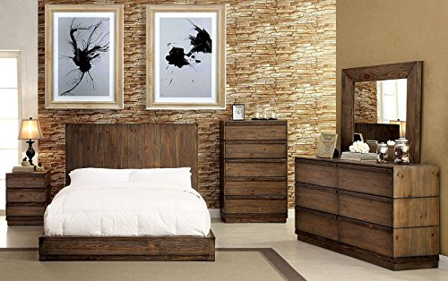 Amarante Collection Rustic Natural Tone Finish Low Profile Bed WFlat Panel HB Eastern King Size Bed 4pc Set Unique Dresser Mirror Nightstand Master Bedroom Furniture 0